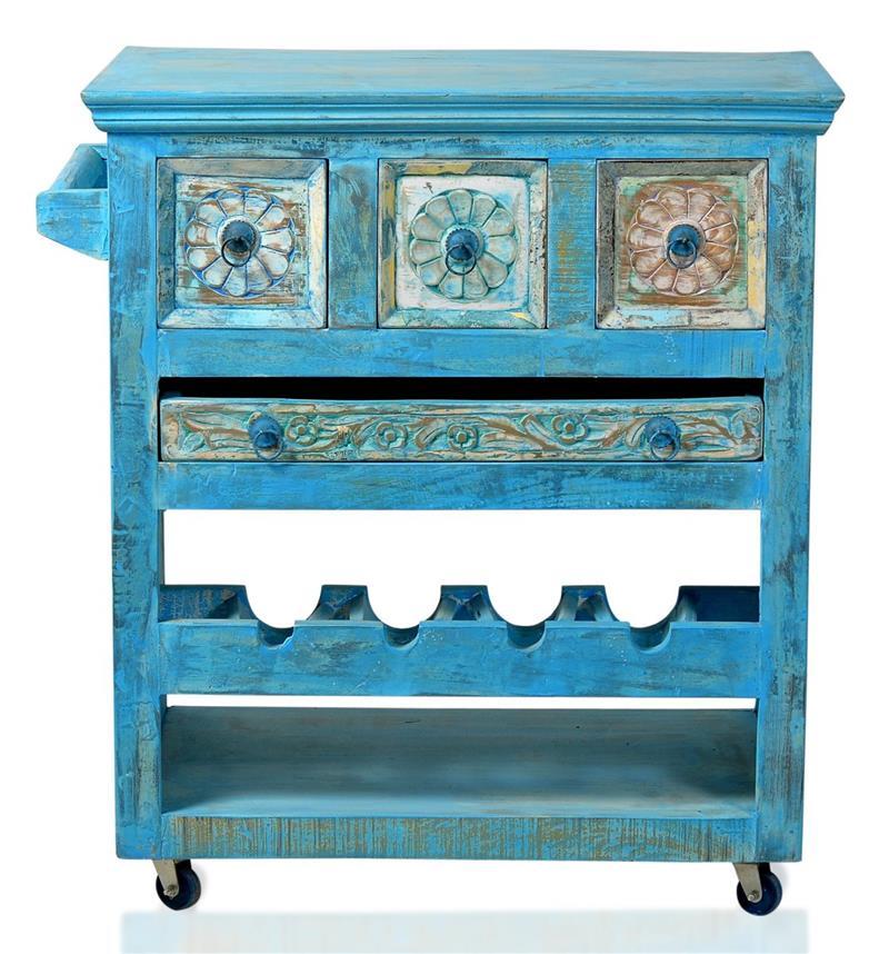 Kuchenwagen blue beistelltisch servierwagen altholz massiv for Küchenwagen antik