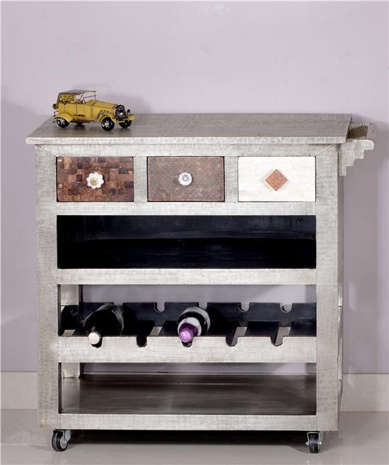 servierwagen metal and bone k chenwagen mit schubladen. Black Bedroom Furniture Sets. Home Design Ideas