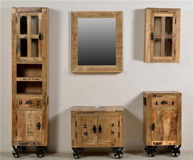 hochschrank rustic badezimmerschrank badschrank mango holz massiv shabby stil ebay. Black Bedroom Furniture Sets. Home Design Ideas