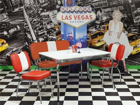bistro set american diner tischgruppe stuhl tisch bank auswahl 50er look rot b ebay. Black Bedroom Furniture Sets. Home Design Ideas