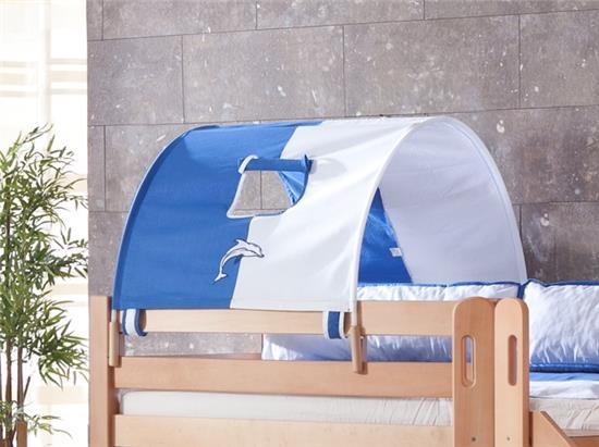 1er tunnel f r hochbett spielbett etagenbett in weiss delfin halterungen natur ebay. Black Bedroom Furniture Sets. Home Design Ideas