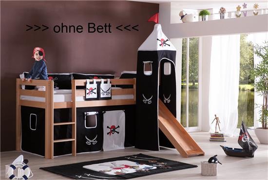 vorhang mit turmzelt stoff f r hochbett spielbett. Black Bedroom Furniture Sets. Home Design Ideas